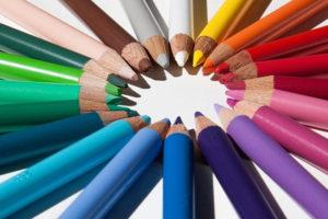 Pencils in bright vibrant colours